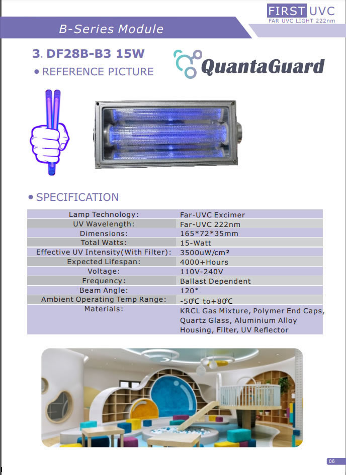 QuantaModule Open Source 15-Watt Far UV Excimer Module DC 24V Far-UVC Light Kit with 222nm Bandpass Flitter and Housing