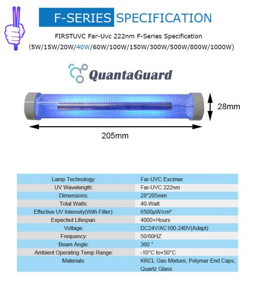 QuantaLamp 40-Watt Far UVC Excimer Bulb 222nm First-UVC F-Series 40w Far-UV Light 24V DC