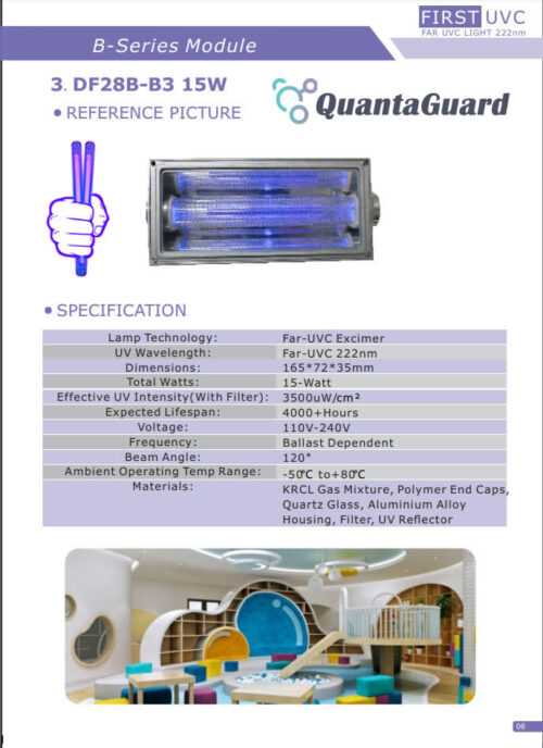 QuantaModule 15-Watt Far UVC Light Excimer Lamp Module Kit 24V DC 15w Far-UVC Light and Housing with 222nm Band Pass Filter
