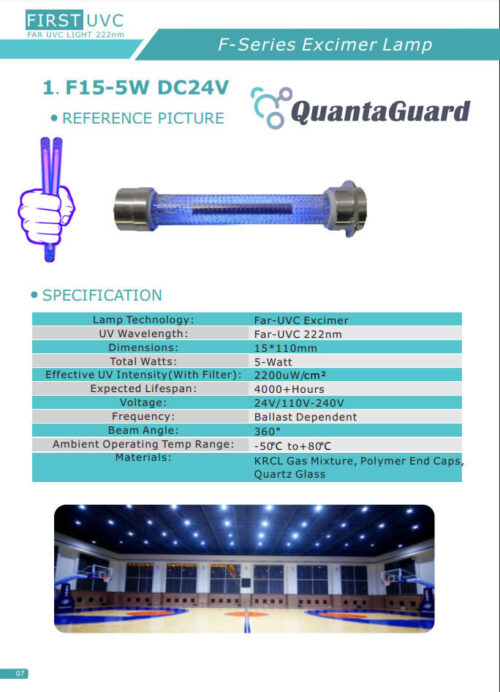 QuantaLamp 5-Watt Excimer 222nm Far UVC Light Bulbs 5w Far-UV Light Quartz Glass Tube 15mm*110mm 24V DC