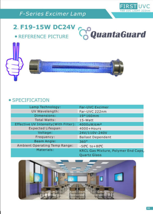QuantaLamp 15-Watt Excimer 222nm Far UVC Light Bulbs 15w Far-UV Light Quartz Glass Tube 19mm*160mm 24V DC