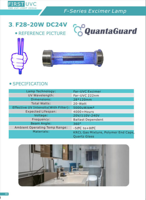 QuantaLamp 20-Watt Excimer 222nm Far UVC Light Bulbs 20w Far-UV Light Quartz Glass Tube 28mm*120mm 24V DC