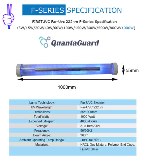 QuantaLamp 1000-Watt Excimer 222nm Far UVC Light Bulbs 1000w Far-UV Light Quartz Glass Tube 55mm*1000mm 110V/220V AC